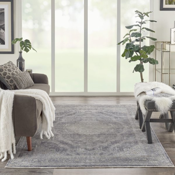 Charcoal, Cream Vintage / Overdyed Area Rug