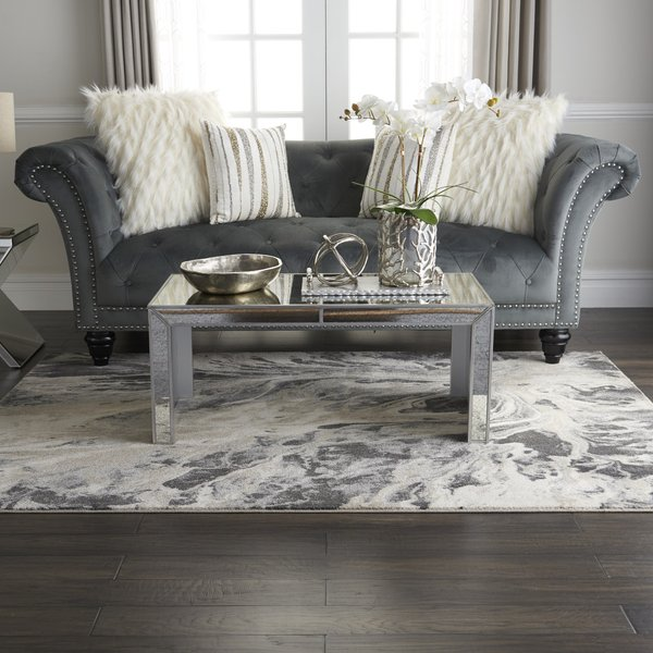 Charcoal, Beige, Cream Abstract Area Rug
