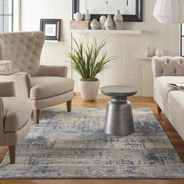 Ivory, Blue Contemporary / Modern Area Rug
