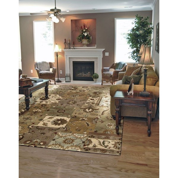 Green, Taupe Country Area Rug