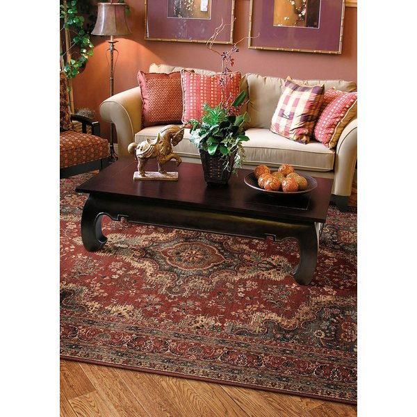 Red, Tan, Blue Traditional / Oriental Area Rug