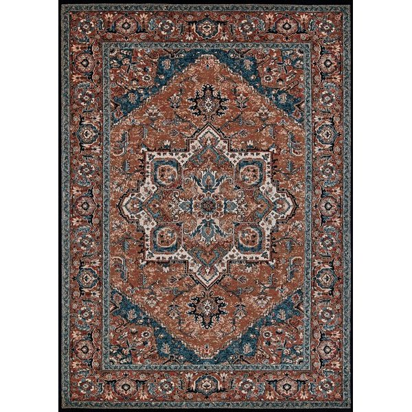 Brown, Cream, Blue Traditional / Oriental Area Rug