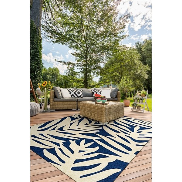 Navy, Ivory (3990-0980) Floral / Botanical Area-Rugs