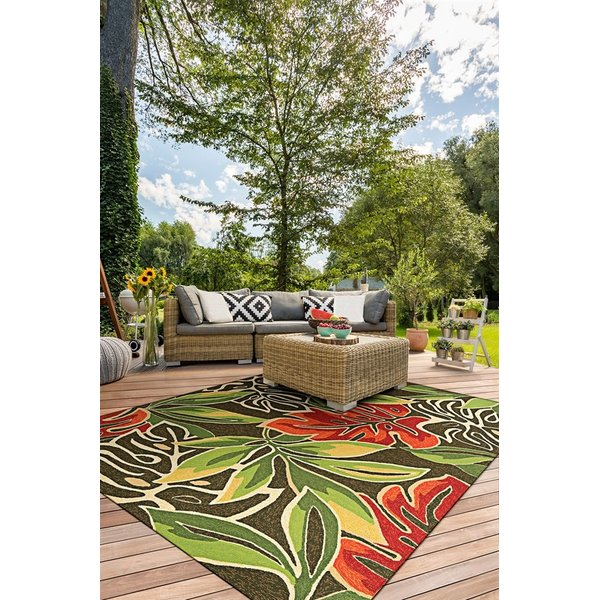 Brown, Forest Green (4361-0366) Floral / Botanical Area-Rugs