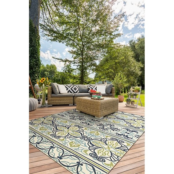 Ivory, Navy Lime (3037-7801) Contemporary / Modern Area Rug
