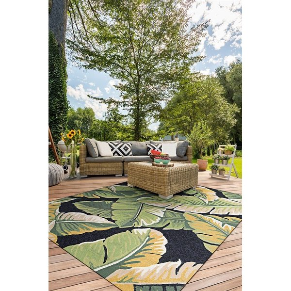 Forest Green, Black (4972-4000) Floral / Botanical Area Rug