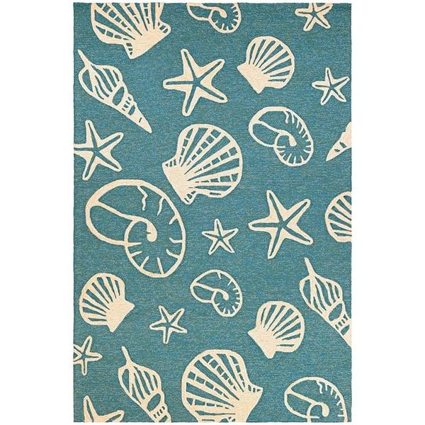 Turquoise, Ivory (7334-0220) Beach / Nautical Area Rug