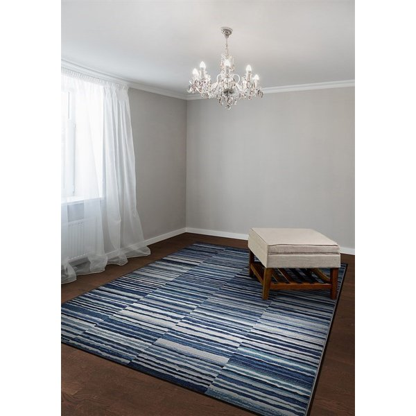 Dark Blue, Blue, Grey, Cream Contemporary / Modern Area Rug