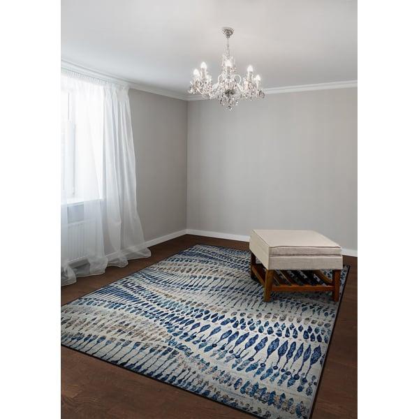 Bone, Blue (6842-6151) Contemporary / Modern Area Rug