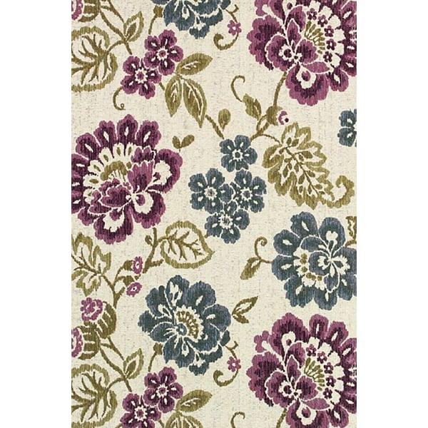 Ivory, Purple (4078-7439) Floral / Botanical Area Rug