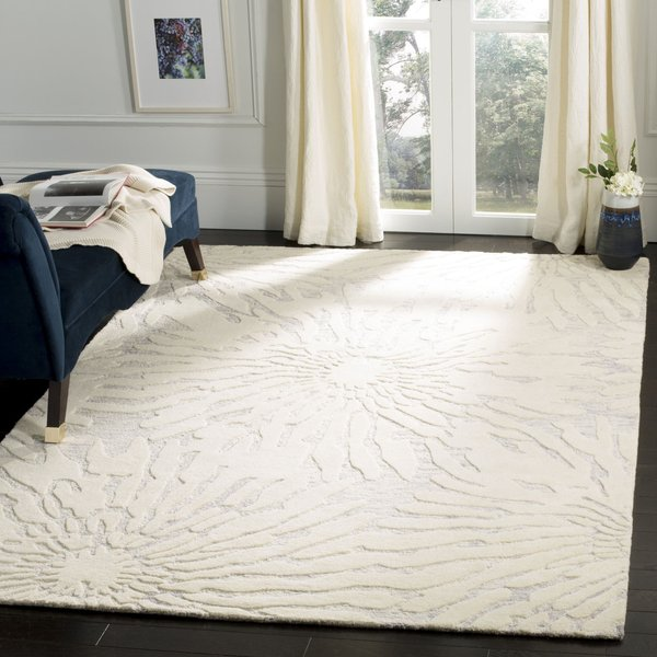 Silver, Ivory (A) Floral / Botanical Area-Rugs