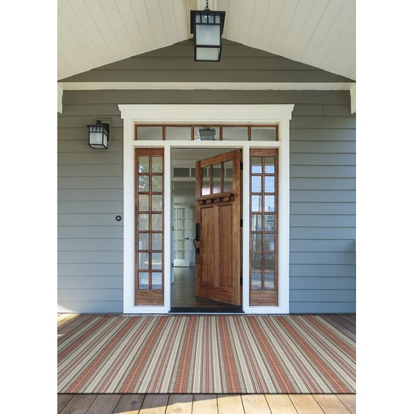Coral, Ivory, Pewter (6041-3151) Striped Area-Rugs
