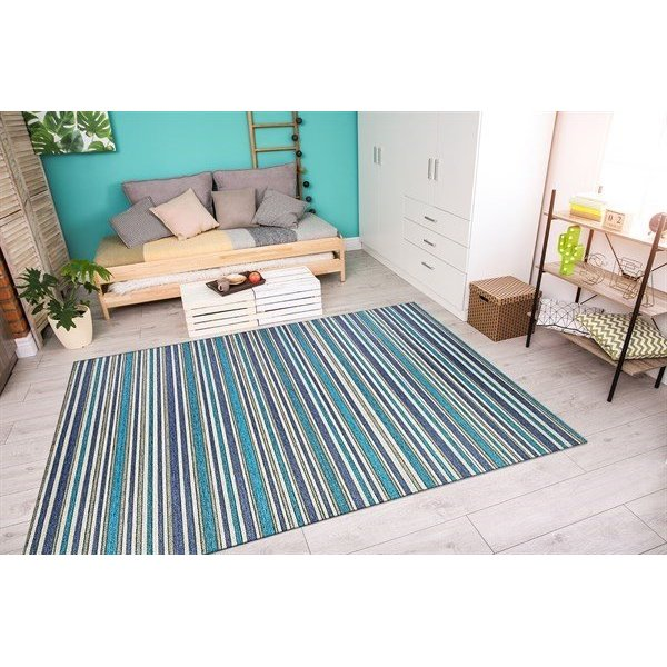 Cobalt, Teal (1403-0002) Striped Area-Rugs