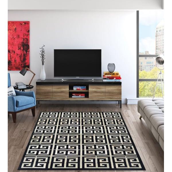 Black, Ivory (3259-0243) Contemporary / Modern Area Rug