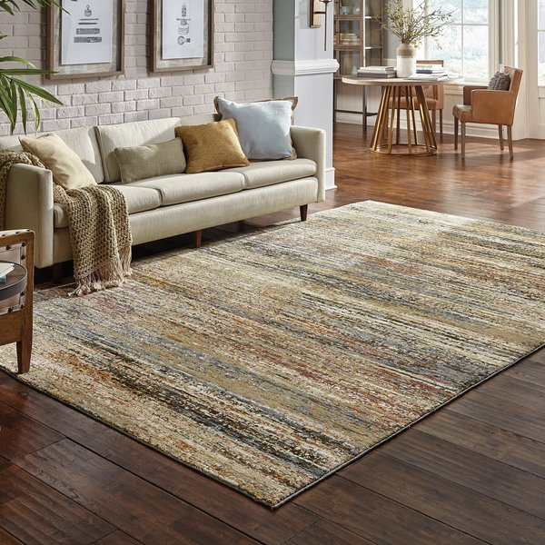 Green, Gold (J) Contemporary / Modern Area-Rugs