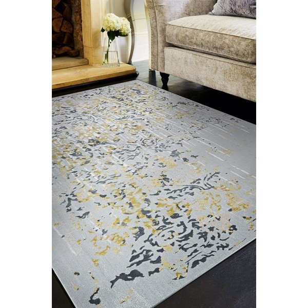 Gold, Silver, Ivory (5193-0747) Vintage / Overdyed Area Rug