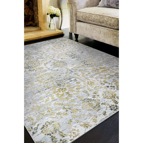 Gold, Silver, Ivory (5178-0747) Vintage / Overdyed Area Rug