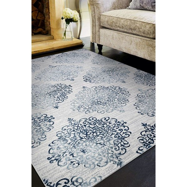 Ivory, Steel Blue (5176-0758) Vintage / Overdyed Area Rug