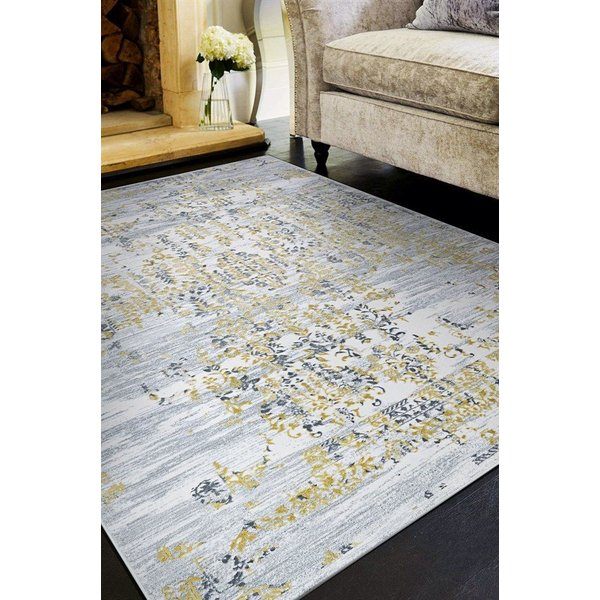 Gold, Silver, Ivory (5195-0747) Vintage / Overdyed Area Rug