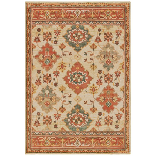 Ivory, Orange (A) Traditional / Oriental Area-Rugs