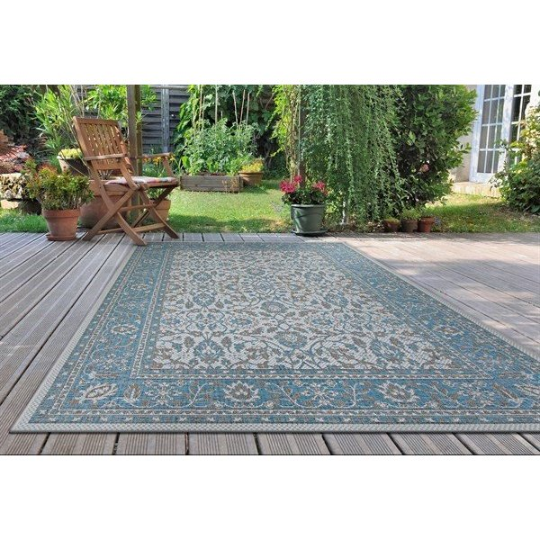 Azure, Ivory, Light Grey Traditional / Oriental Area-Rugs