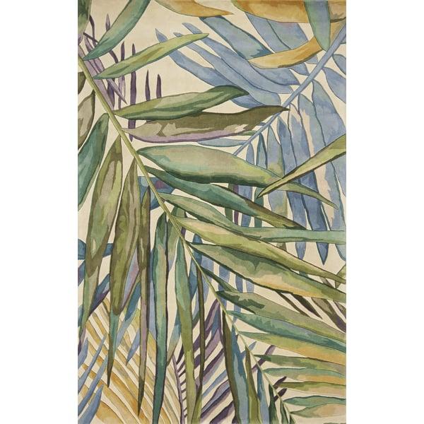 Green, Blue (754) Floral / Botanical Area Rug