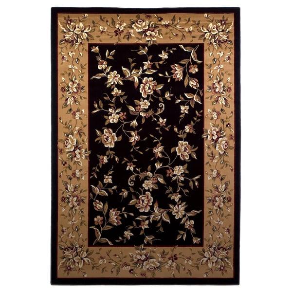 Black, Beige (7336) Floral / Botanical Area-Rugs