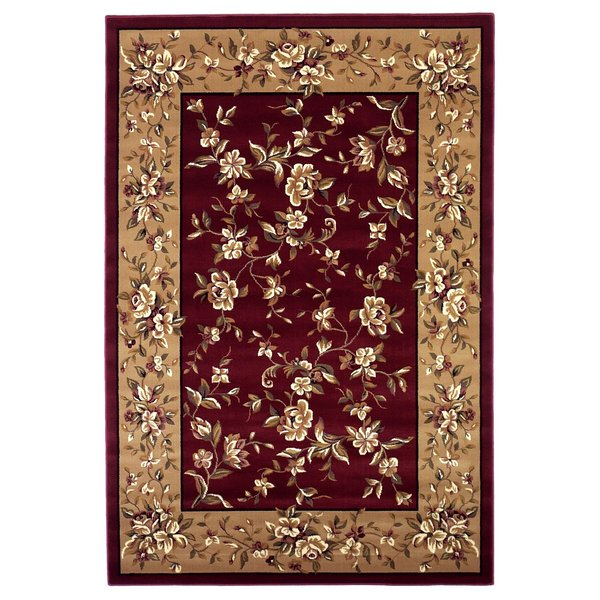 Red, Beige (7337) Floral / Botanical Area-Rugs