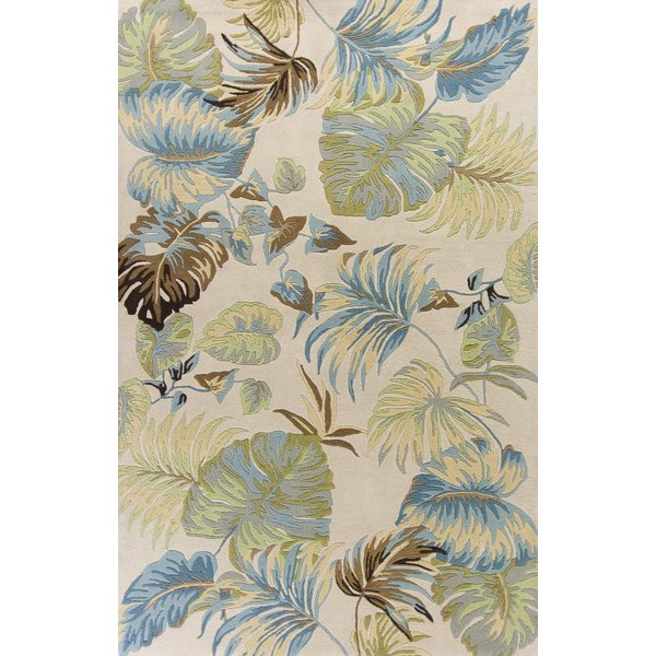 Ivory, Blue (2630) Floral / Botanical Area Rug