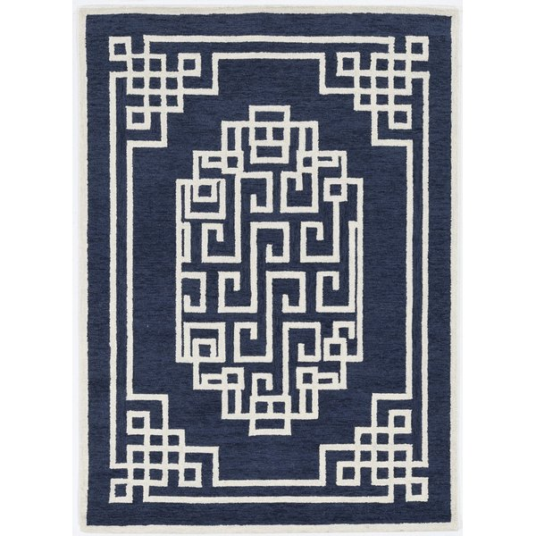 Navy, Ivory (1613) Contemporary / Modern Area-Rugs