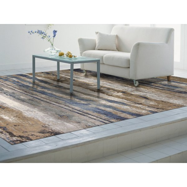 Ivory, Blue (8603) Abstract Area Rug