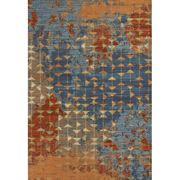 Blue, Coral (6208) Abstract Area Rug