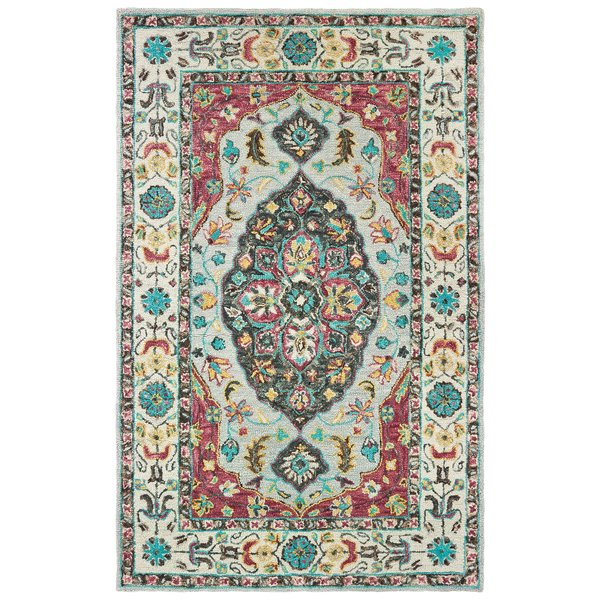 Grey, Pink Traditional / Oriental Area-Rugs