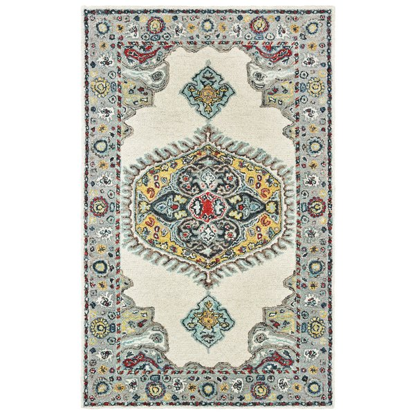 Ivory, Grey Traditional / Oriental Area-Rugs