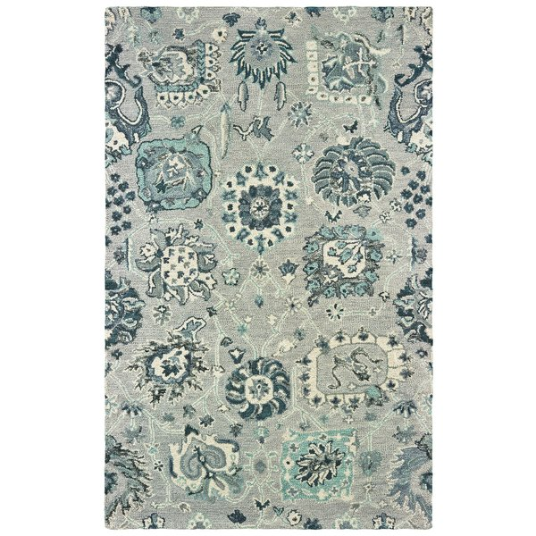Grey, Blue Traditional / Oriental Area-Rugs