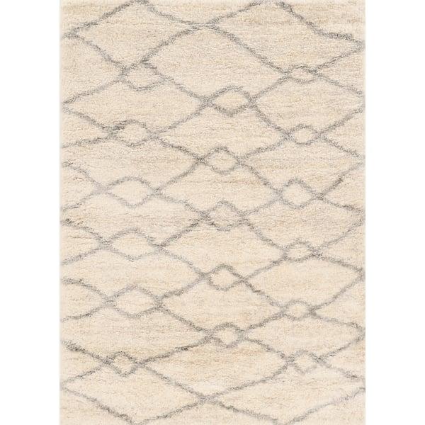Ivory, Grey (6700) Shag Area Rug
