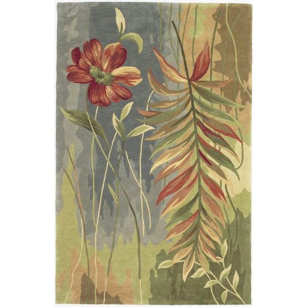 Blue, Green (3159) Floral / Botanical Area Rug