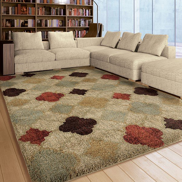 Beige, Red, Burgundy, Brown (4314) Contemporary / Modern Area Rug
