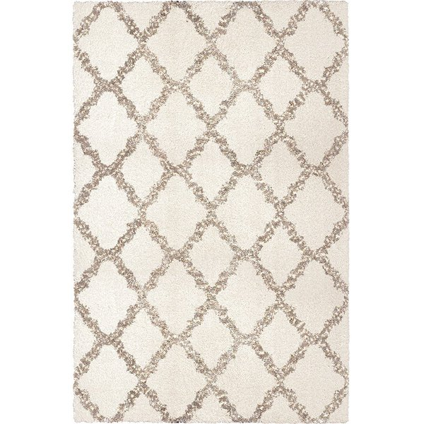 White, Grey (8305) Shag Area-Rugs