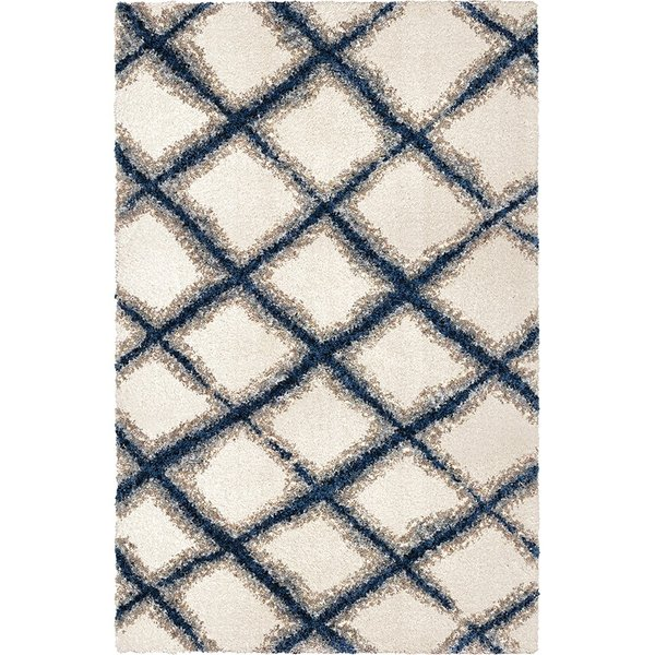 White, Grey (8308) Shag Area Rug