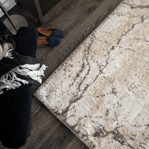 Ivory, Grey (7009) Abstract Area Rug