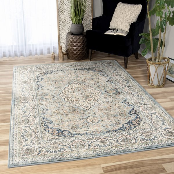 Brown, Beige, Blue Vintage / Overdyed Area-Rugs