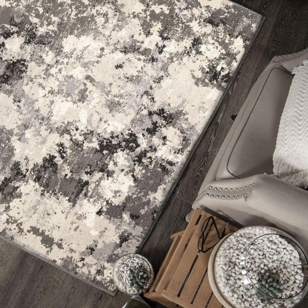 Silver, Off White, Gray (9312) Contemporary / Modern Area Rug