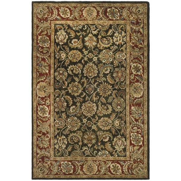 Dark Olive, Red (P) Traditional / Oriental Area-Rugs