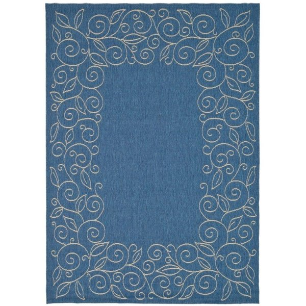 Blue, Ivory (C) Contemporary / Modern Area Rug