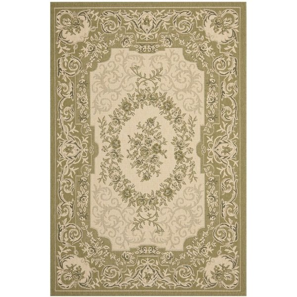 Cream, Green (14A5) Traditional / Oriental Area-Rugs