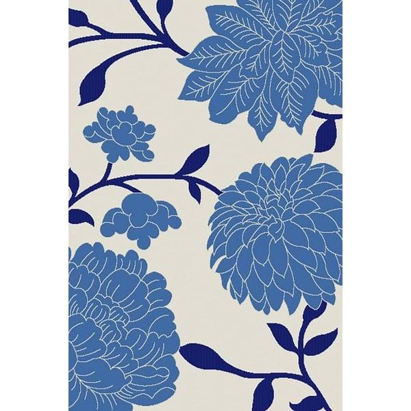 Beige, Blue (233A25) Floral / Botanical Area Rug