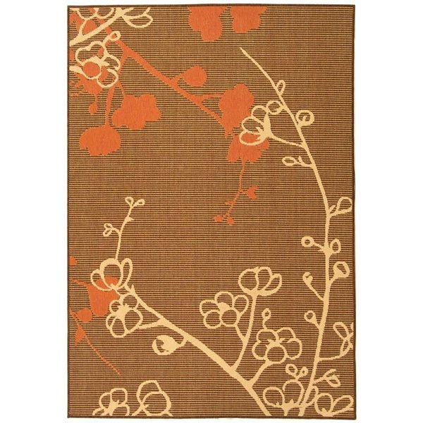 Natural, Brown, Terracotta (C) Floral / Botanical Area Rug