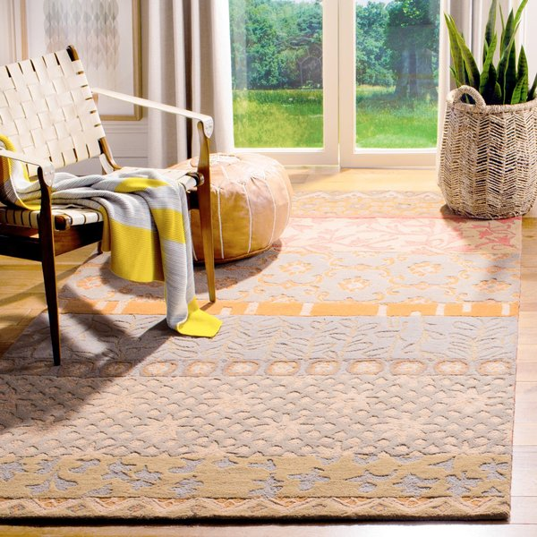 Grey, Gold, Sage (M) Striped Area-Rugs