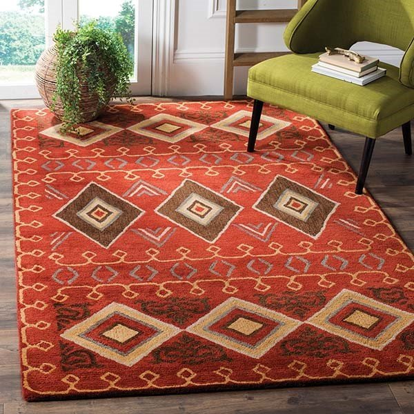 Red (A) Southwestern Area Rug